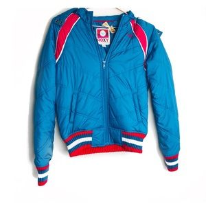 E EUC Roxy Blue Retro Puffer Jacket Small
